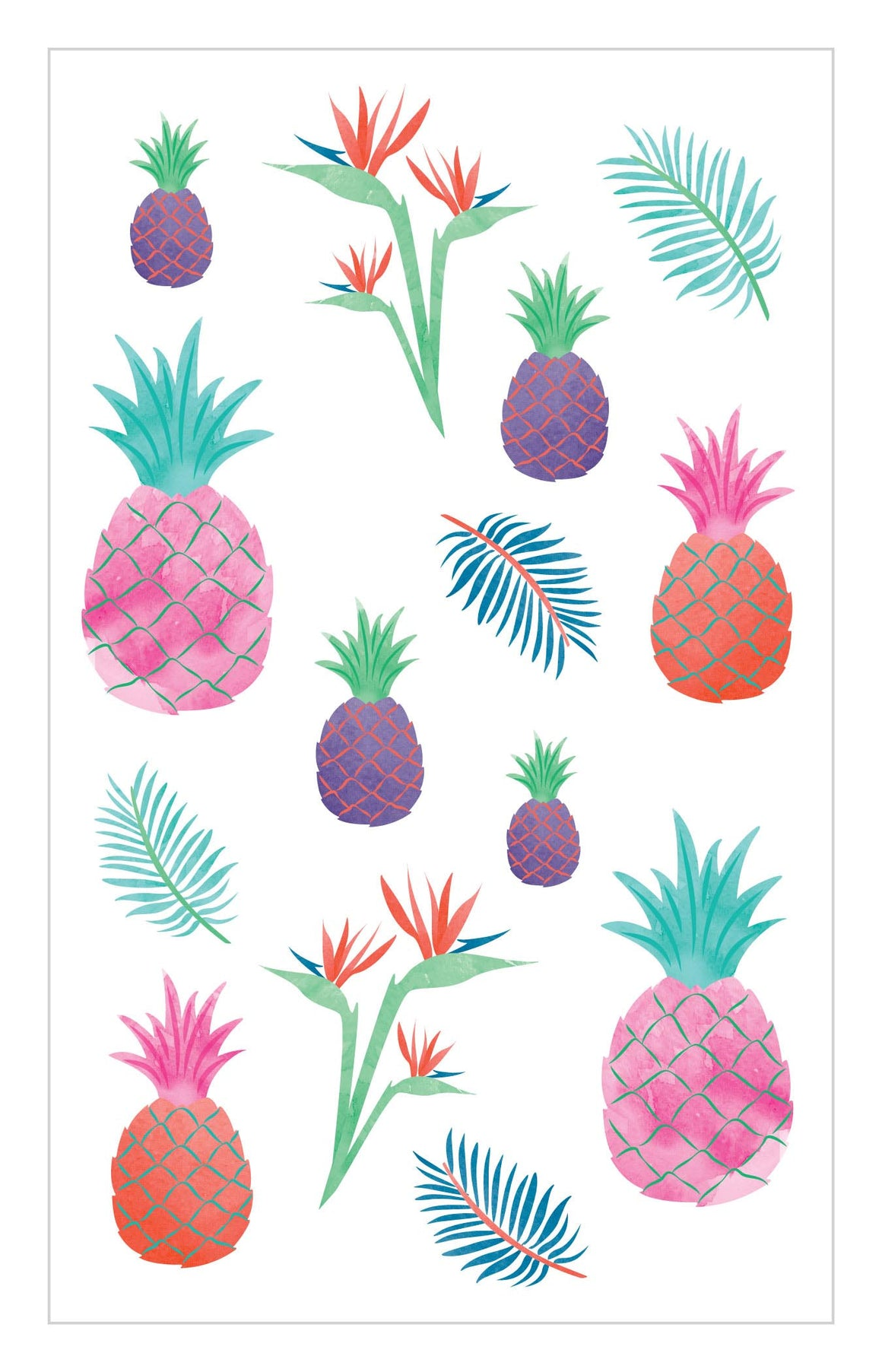 Watercolor Pineapples Stickers