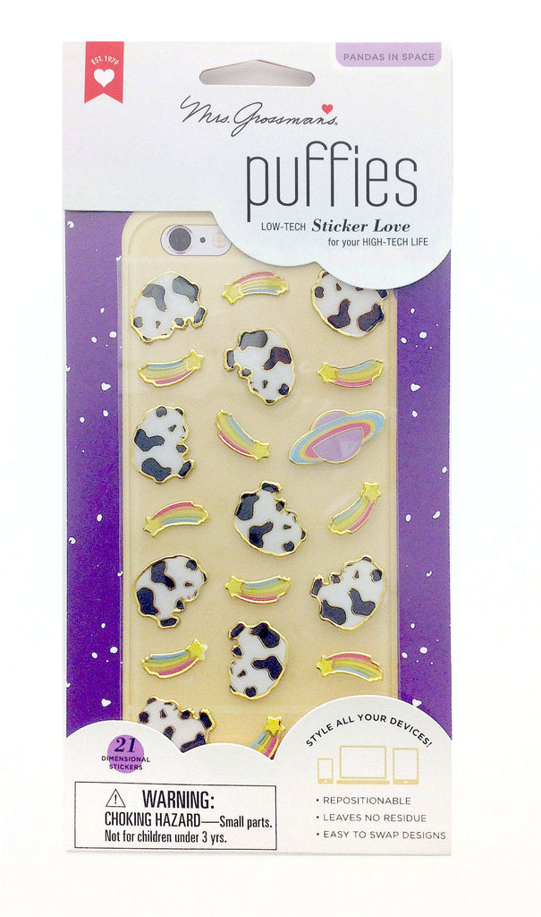 Puffies, Pandas in Space, sticker, Mrs. Grossman's Stickers