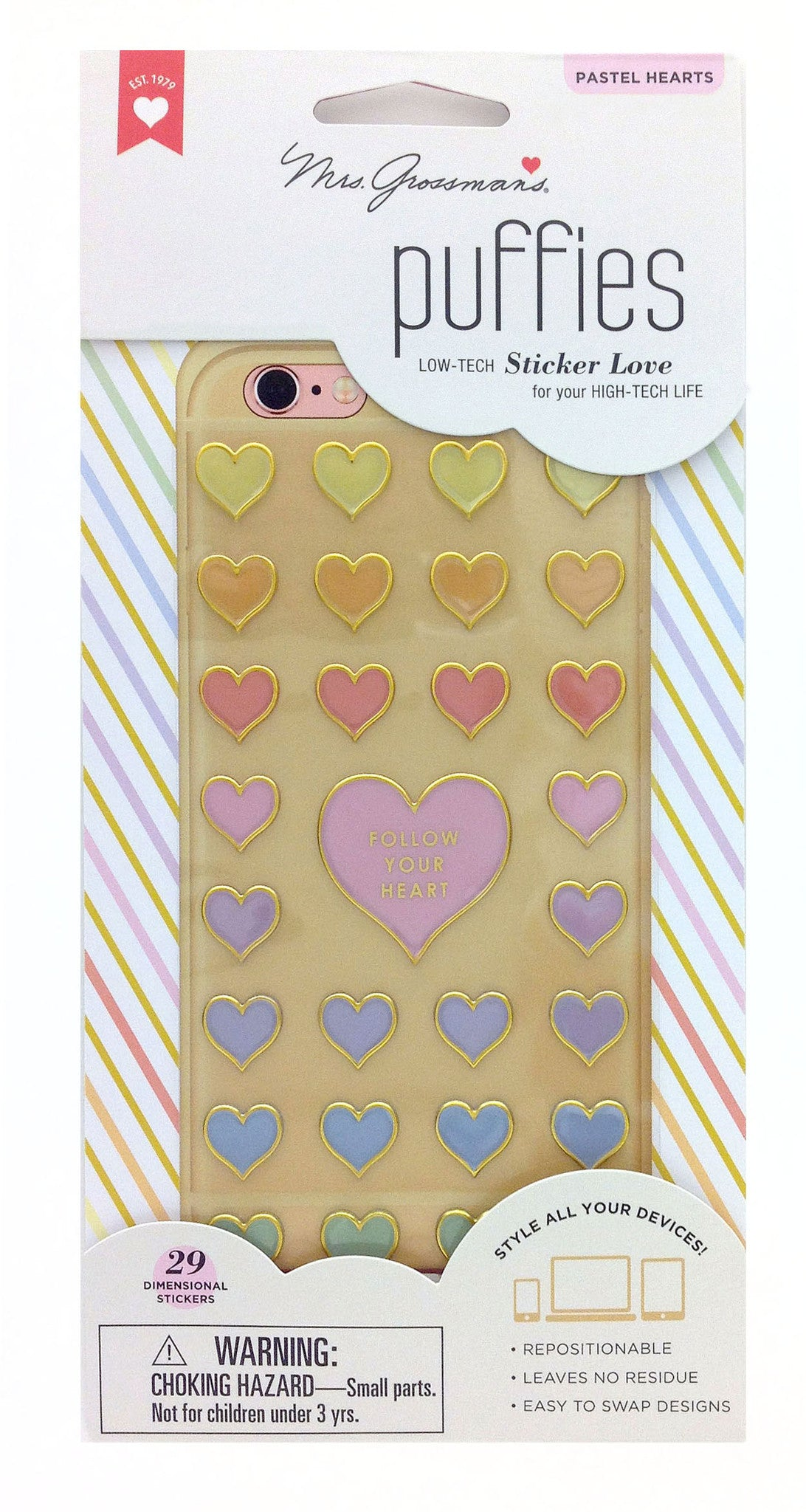 Puffies, Pastel Hearts, sticker, Mrs. Grossman's Stickers