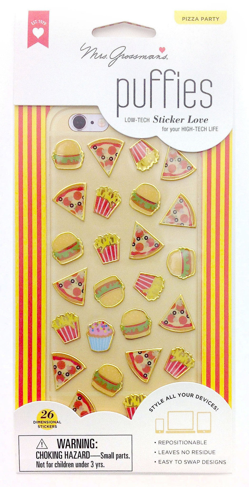 Puffies, Pizza Party, sticker, Mrs. Grossman's Stickers