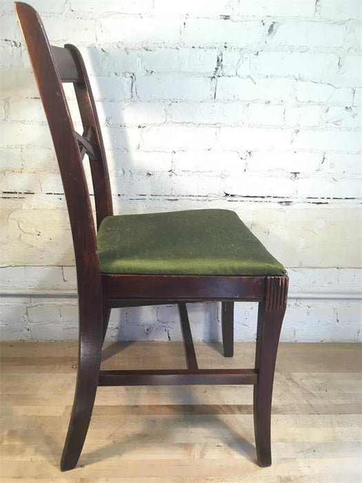 Wood Eye Back Chair - Woven Green Seat Pad