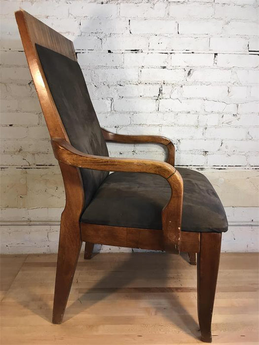 Wood Suede Arm Chair