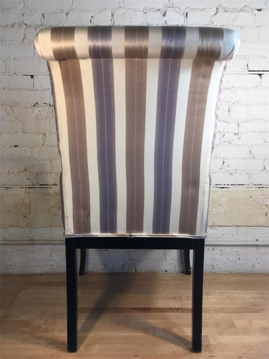 Wood Arm Chair - Stripe Satin Padded Seat & Back