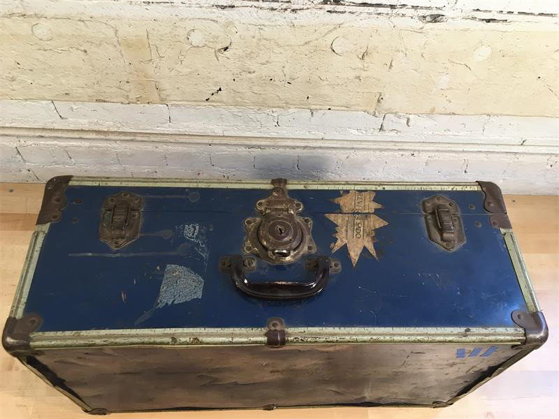 Blue Tin Suitcase