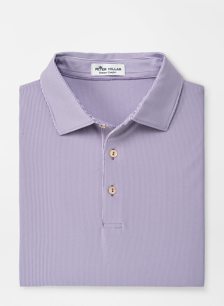 Peter Millar Formal Stripe Jersey Polo- Plumstone