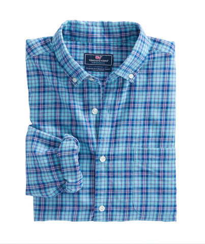 Vineyard Vines Old Coast Road Plaid- Aqua Ocean