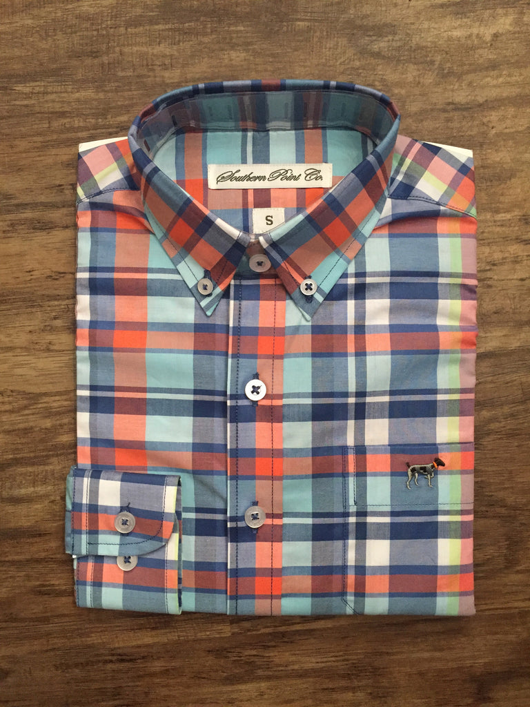 Southern Point Hadley- Orange/Blue/White Plaid
