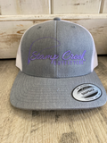 Stamp Creek Outfitters Trucker Hat- Grey W/ Purple