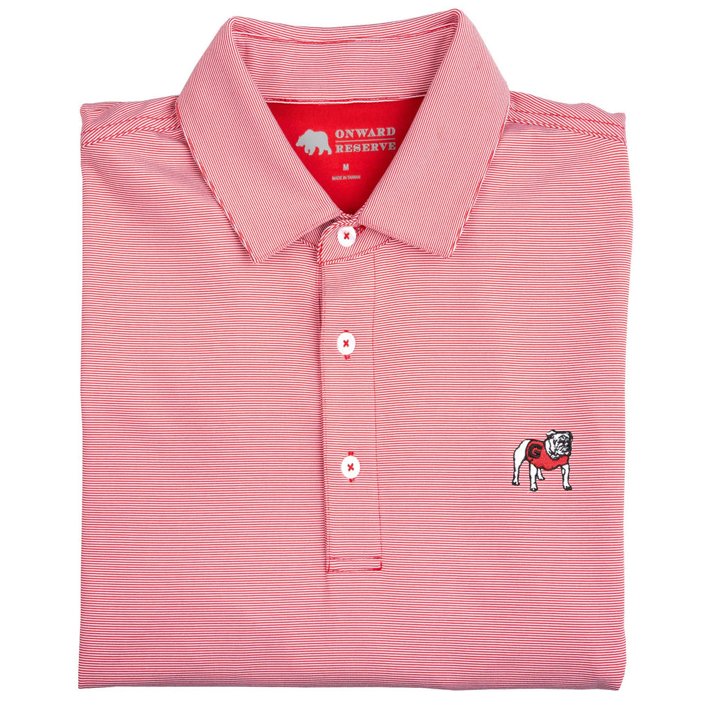 Onward Reserve UGA Hairline Stripe Polo- Red