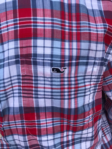 Vineyard Vines Firework Plaid- Lighthouse Red