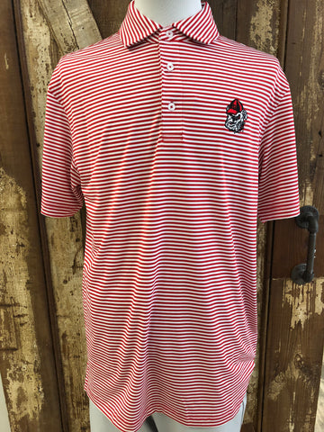 Onward Reserve Pro Stripe UGA Performance Polo- Red/White