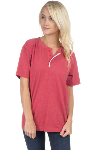 Lauren James SS Henley Tee- Heather Red