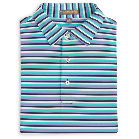 Peter Millar Luna Stripe Stretch Mesh Polo- Yankee Blue