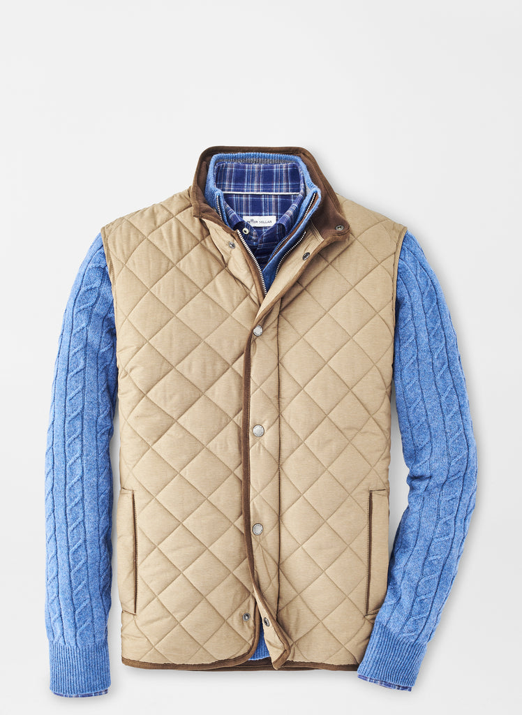 Peter Millar Essex Quilted Travel Vest- Taupe