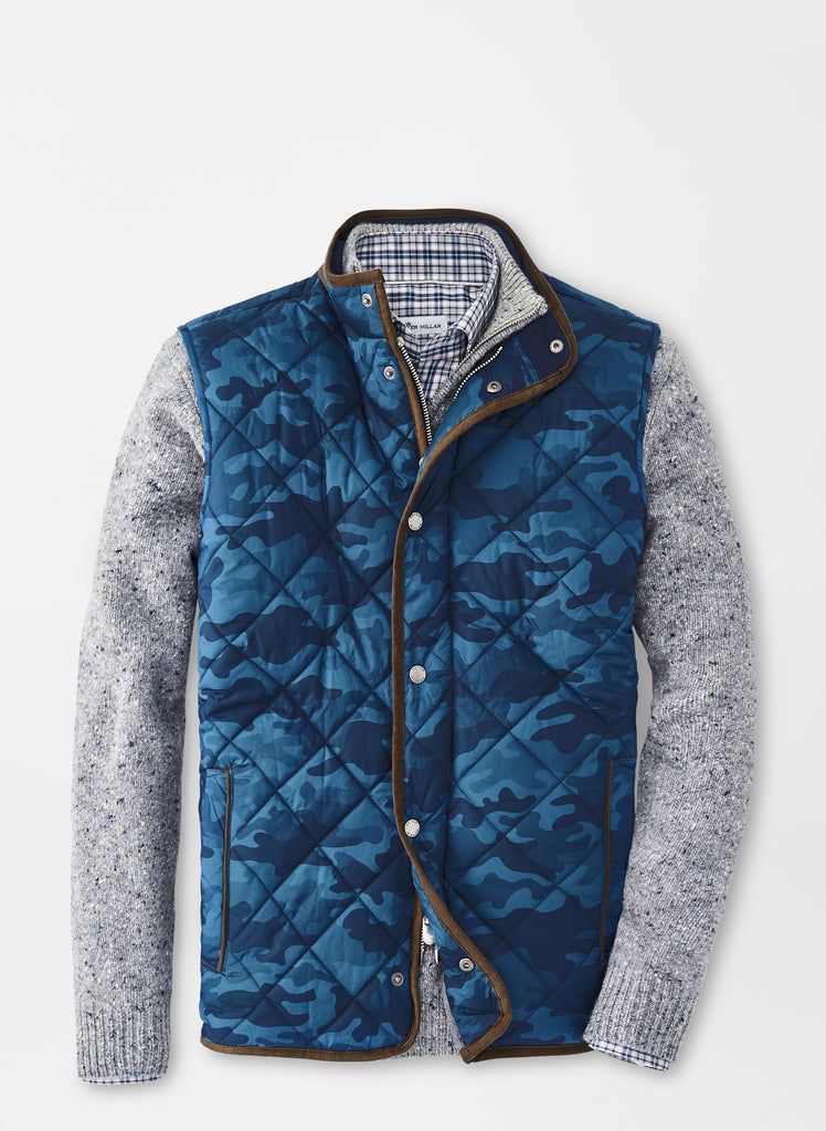 Peter Millar Essex Quilted Travel Vest- Blue Camo