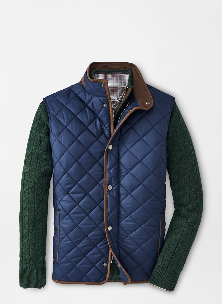 Peter Millar Essex Quilted Travel Vest- Navy