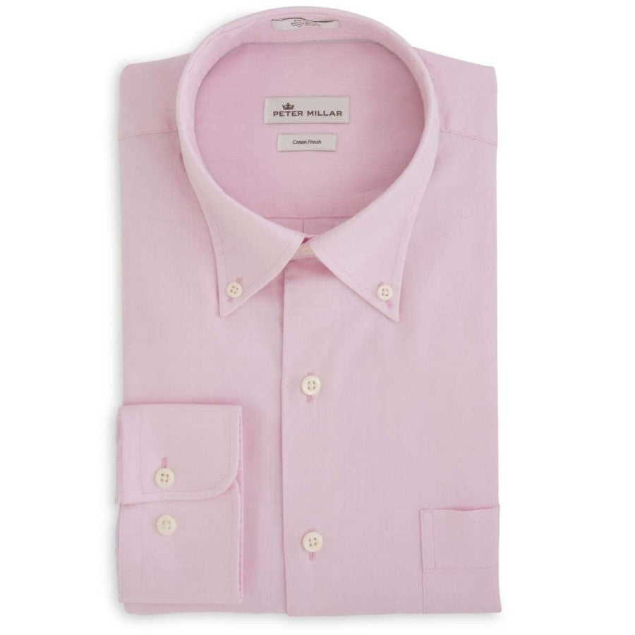 Peter Millar Crown Finish Pinpoint Sport Shirt- Retro Pink