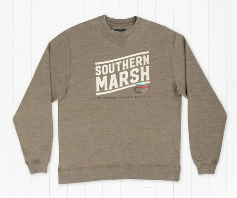 Southern Marsh Fly Line Sweatshirt- Dark Olive