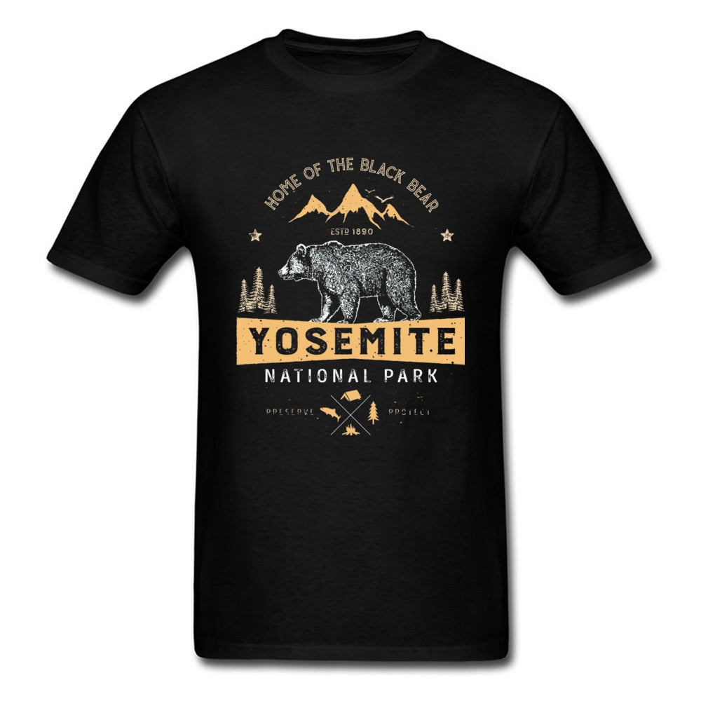 Yosemite National Park Forest Mountain Bear T-shirt Cotton