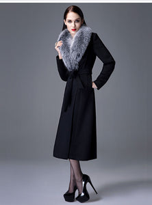 Cashmere Blend Coat with Fox Fur Collar, Real Wool Jacket, Winter Jacket, Warm Coat.