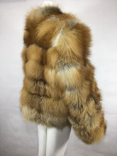 Load image into Gallery viewer, Red Fox Fur Coat, Real Fur Coat with Mandarin Collar, Fox Fur Jacket, Fur Coat.