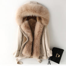 Load image into Gallery viewer, Cashmere Blend Coat with Rabbit Fur Inner & Fox Fur Collar, Real Wool Jacket, Winter Jacket, Warm Coat.