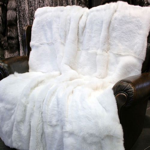 White Rabbit Fur Blanket, Real Fur Rug, Fur Throw.