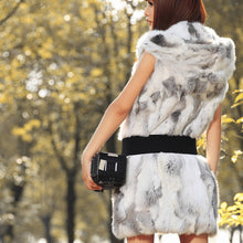 Load image into Gallery viewer, Rabbit Fur Vest with Hood 75cm, Rabbit Fur Gilet, Fur Jacket, Real Fur Coat, Real Fur.