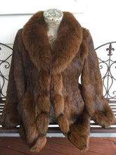 Load image into Gallery viewer, Rabbit Fur Coat with Fox Fur Collar, Real Fur Coat, Real Fur Jacket.