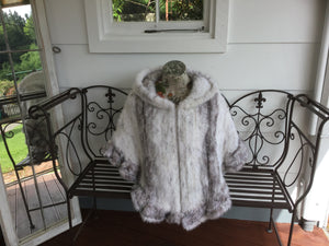 Knitted Mink Fur Poncho with Hood, Real Mink Fur Shawl, Mink Fur Cape
