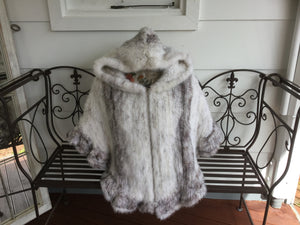 Knitted Mink Fur Poncho with Hood, Real Mink Fur Shawl, Mink Fur Cape.