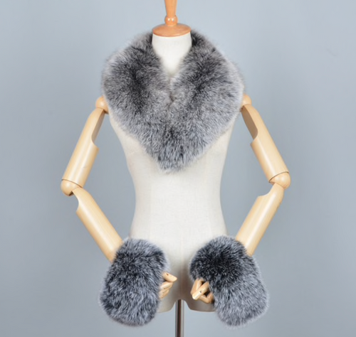 Fox & Raccoon Fur Collar, Cuffs, Real Fur Collar, Cuffs.