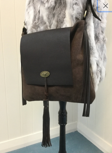 Cowhide Leather Bag with Tassels.