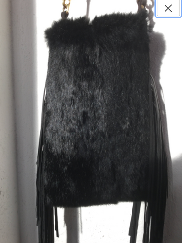 Rabbit Fur & Cowhide Leather Bag with Tassels.
