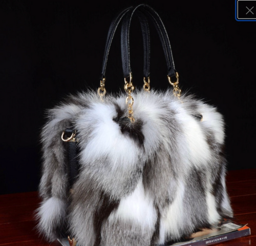 Fox Fur  Bag, Real Leather Bag.