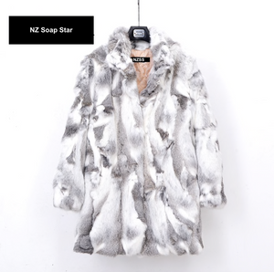 Rabbit Fur Coat 78cm Length, Rabbit Fur Jacket, Real Fur Coat, Real Fur Jacket.