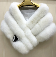 Load image into Gallery viewer, Brides White Fox Fur Shawl, Fox Fur Cape, Real Blue Fox Fur.