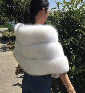 Brides White Fox Fur Shawl, Fox Fur Cape, Real Blue Fox Fur.