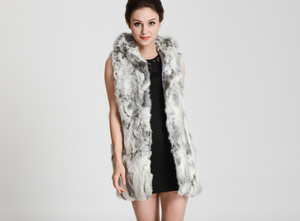 Rabbit Fur Vest with Hood 75cm, Rabbit Fur Gilet, Fur Jacket, Real Fur Coat, Real Fur.