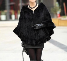 Load image into Gallery viewer, Knitted Mink Fur Poncho with Hood, Real Mink Fur Shawl, Mink Fur Cape