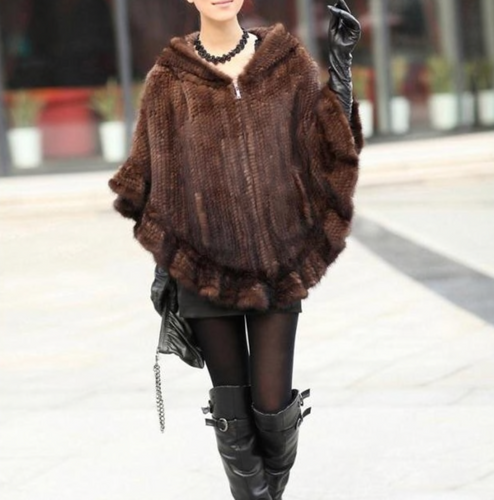 Brown & Black Knitted Mink Fur Poncho with Hood, Real Mink Fur Shawl, Mink Fur Cape