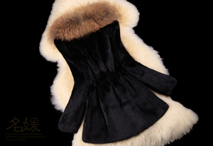 Rabbit Fur Coat with Raccoon Fur Collar, Real Fur Coat, Real Fur Jacket.