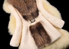 Load image into Gallery viewer, Rabbit Fur Coat with Raccoon Fur Collar, Real Fur Coat, Real Fur Jacket.