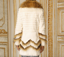 Load image into Gallery viewer, Rabbit Fur Coat with Raccoon Fur Collar/Trim, Real Fur Coat, Real Fur Jacket.
