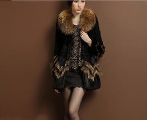 Rabbit Fur Coat with Raccoon Fur Collar/Trim, Real Fur Coat, Real Fur Jacket.