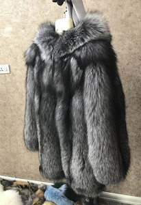 Luxurious Silver Fox Fur Coat, Real Fur Coat with Hood, Fox Fur Jacket, Fur Coat.
