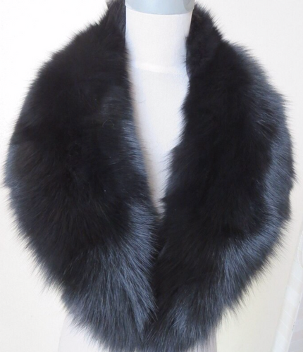 Black Fox Fur Collar, Real Fur Collar.