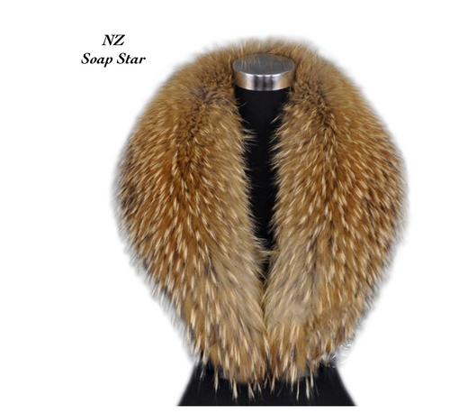 Raccoon Fur Collar, Real Fur Collar.
