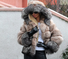 Load image into Gallery viewer, Silver Fox Fur Coat, Real Fur Coat with Hood, Fox Fur Jacket, Fur Coat.
