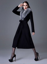 Load image into Gallery viewer, Cashmere Blend Coat with Fox Fur Collar, Real Wool Jacket, Winter Jacket, Warm Coat.